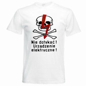 T-shirt z nadrukiem Nie dotykać! Urządzenie elektryczne!