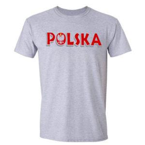 koszulka z nadrukiem polska godło szara