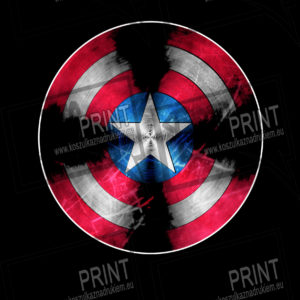 t shirt z nadrukiem kapitan ameryka tło