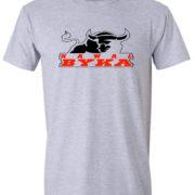 koszulka z nadrukiem kawał byka pomarańczowo czarne szara logo