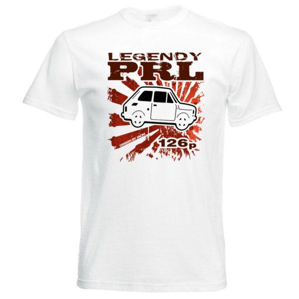koszulka z nadrukiem legendy prl fiat 126 p biała