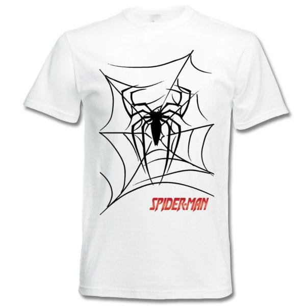 koszulka z nadrukiem Spider-Man pajęczyna biała