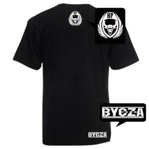 koszulka na siłownię z nadrukiem bycza forma tył czarna