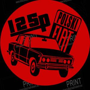 koszulka z nadrukiem fiat125p logo