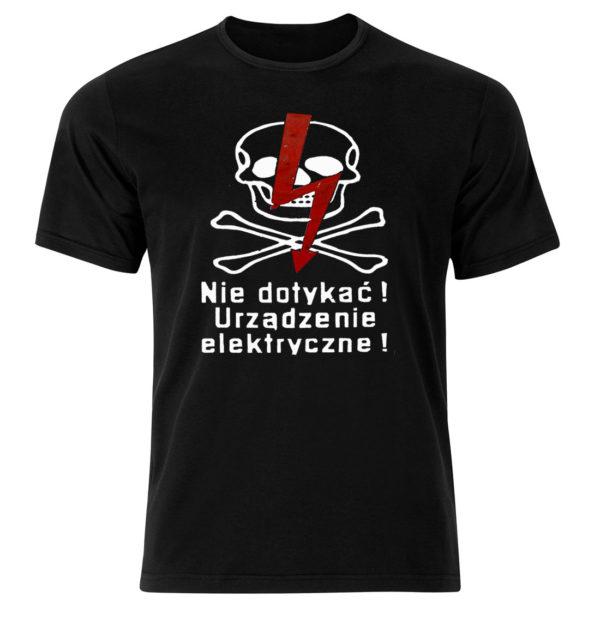 Koszulka z nadrukiem Nie dotykać! Urządzenie elektryczne!