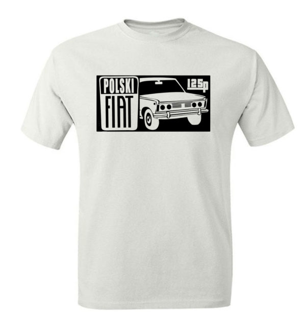 T-shirt męski z nadrukiem Fiat 125p, koszulka retro PRL