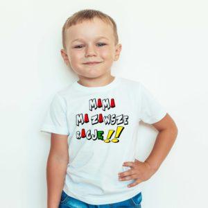 Ubrania dla dzieci, T-shirt dziecięcy z nadrukiem Mama ma zawsze rację