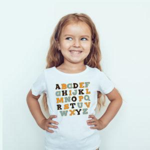 Koszulki dla dzieci / Ubrania dla dzieci / Koszulka dla dziewczynki z nadrukiem Alfabet