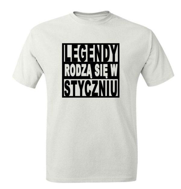 Prezent na urodziny, koszulka z nadrukiem legendy rodzą się w styczniu