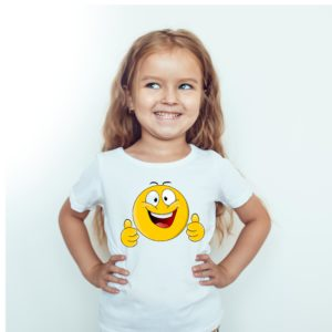 Koszulka na prezent. Koszulka dla dziewczynki z nadrukiem emotki