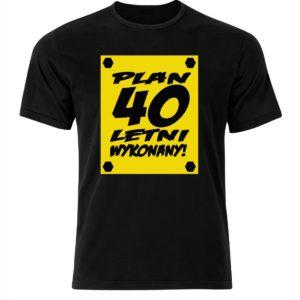 Koszulka męska z nadrukiem prezent urodzinowy plan 40 letni wykonany