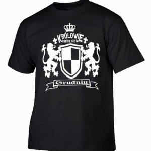 Królowie rodzą się w grudniu Męska koszulka z nadrukiem