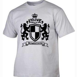 Męska koszulka z nadrukiem Królowie rodzą się w kwietniu