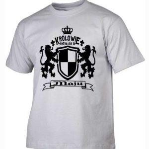 Męska koszulka z nadrukiem Królowie rodzą się w maju
