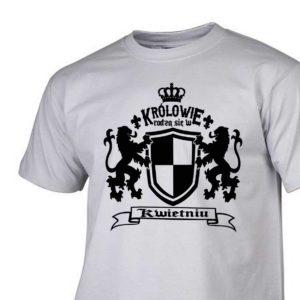 Męski t-shirt z nadrukiem Królowie rodzą się w kwietniu