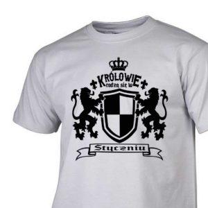 Męski t-shirt z nadrukiem Królowie rodzą się w styczniu