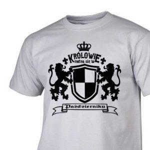 męski t-shirt z nadrukiem Królowie rodzą się w październiku