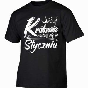 Królowie rodzą się w styczniu męska koszulka z nadrukiem
