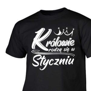 Królowie rodzą się w styczniu męski t-shirt z nadrukiem