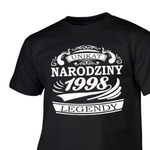Narodziny legendy 1998 rok męska koszulka z nadrukiem urodzinowym