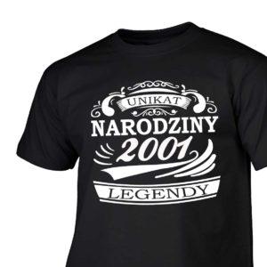 Narodziny legendy 2001 rok męska koszulka z nadrukiem urodzinowym