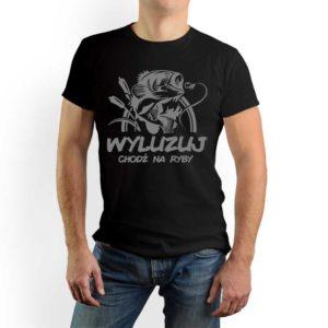 Wyluzuj chodź na ryby - męska koszulka z nadrukiem dla wędkarzy, prezent dla wędkarza