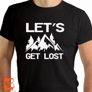 Let's get lost - męskie koszulki z nadrukiem dla miłośników gór