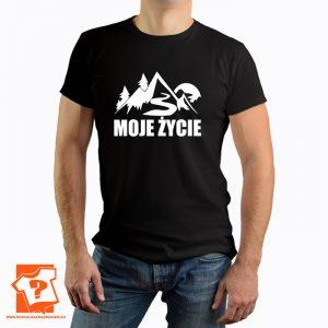 Moje życie - męska koszulka z nadrukiem dla miłośników gór