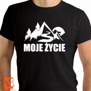 Moje życie - męskie koszulki z nadrukiem dla miłośników gór