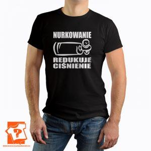 Nurkowanie redukuje ciśnienie - koszulka z nadrukiem