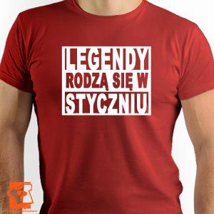 Legendy rodzą się w styczniu - koszulka z nadrukiem - koszulka urodzinowa