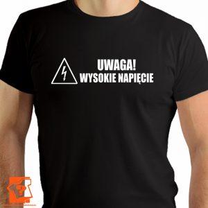 Koszulka uwaga wysokie napięcie - koszulka z nadrukiem - prezent