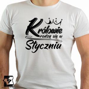 Koszulki na urodziny królowie rodzą się w styczniu - koszulki z nadrukiem