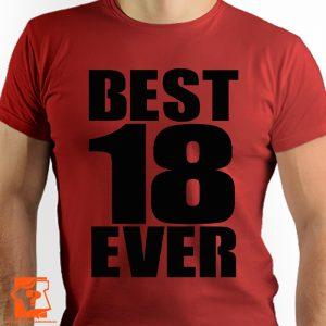 Męska koszulka best 18 ever - prezent na 18 urodziny - koszulki z nadrukiem