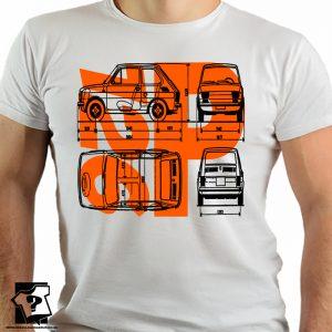 Polski fiat 126p - koszulka retro - PRL - FSM - koszulki z nadrukiem