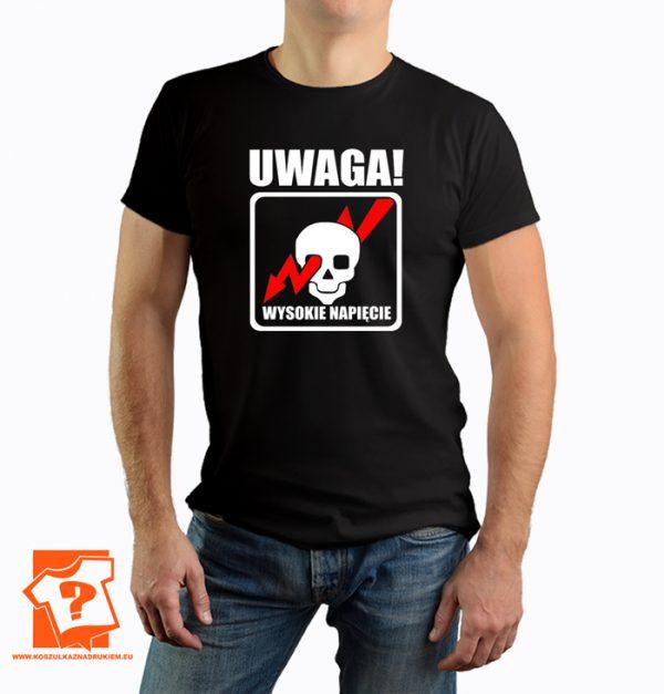 Uwaga wysokie napięcie - koszulka z nadrukiem