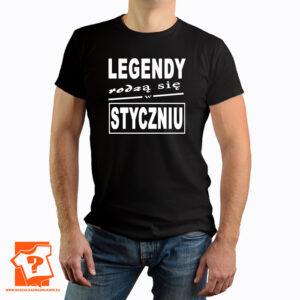 Legendy rodzą się w styczniu koszulka męska prezent - koszulki z nadrukiem