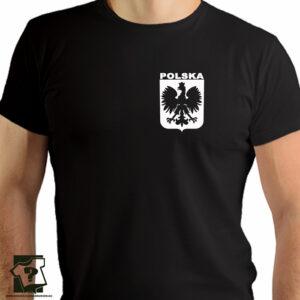 Koszulka Polski z białym godłem na piersi - koszulka z nadrukiem