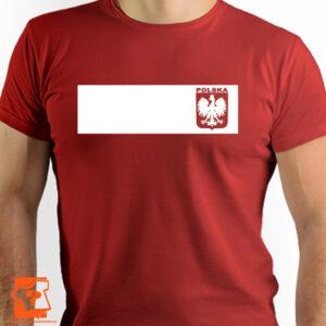 Czerwona koszulka z godłem na piersi - koszulka z nadrukiem