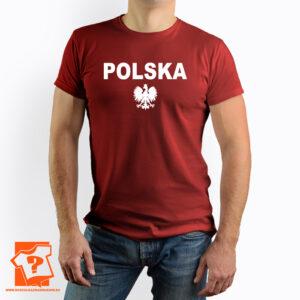 Czerwona koszulka z napisem Polska i godłem - koszulka z nadrukiem