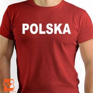 Czerwona koszulka z napisem Polska - koszulka z nadrukiem