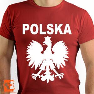 Czerwona koszulka z napisem Polska i orłem - koszulka z nadrukiem