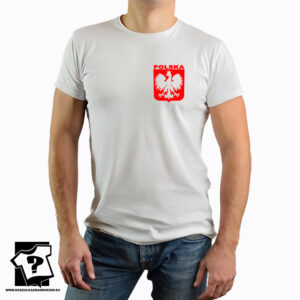Koszulka Polski z czerwonym godłem na piersi – koszulka z nadrukiem