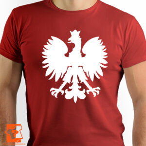 Czerwona koszulka reprezentacji Polski z napisem orłem - koszulka z nadrukiem