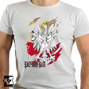 Koszulka patriotyczna z orłem i napisem Polska - koszulka z nadrukiem
