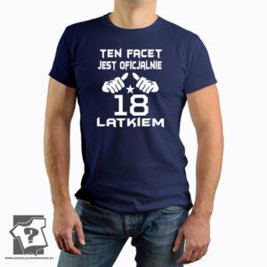 """Ten facet jest oficjalnie 18-latkiem - koszulka z nadrukiem Koszulka z nadrukiem to idealny pomysł na prezent urodzinowy. Wywoła wiele uśmiechu oraz radości w oczach solenizanta. Często dopada nas dylemat: co kupić? co wybrać? Koszulka to doskonałe rozwiązanie ponieważ łączy w sobie cechy praktyczne oraz humor. Koszulkę można nosić na iprezie urodzinowej oraz każdego innego dnia. Za każdym razem kiedy ubierzemy ten prezent przypomnimy sobie miłe chwile. Tak więc nie zwlekaj, nie czekaj... Kup koszulkę z nadrukiem """"Ten facet jest oficjalnie 18-latkiem - koszulka z nadrukiem"""". """"Ten facet jest oficjalnie 18-latkiem - koszulka z nadrukiem"""" prezent na 18 urodziny to koszulka męska, uniwersalna. Krótki rękawkiem nie posiada szwów bocznych. Wykonana ze 100% BAWEŁNY. Koszulka posiada taśmę wzmacniającą, podwójny szew na ramionach oraz wzmocniony lycrą ściągacz."""