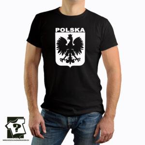 Koszulka Polski z białym godłem - koszulka z nadrukiem