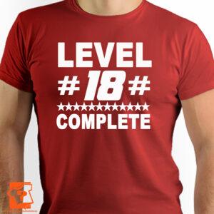 Koszulka level #18# complete - śmieszny prezent urodzinowy - koszulki z nadrukiem
