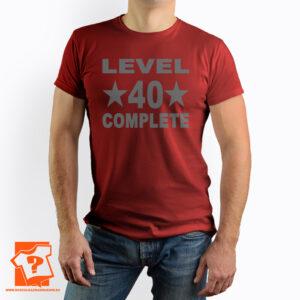 Prezent na 40 urodziny - level 40 complete - koszulka z nadrukiem na urodziny
