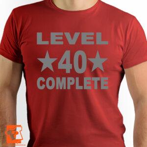 Prezent na 40 urodziny - level 40 complete - koszulki z nadrukiem na urodziny